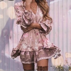 Boho Pink Floral Ruffle Dress